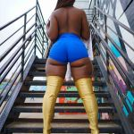 ass big_ass dark-skinned_female dark_skin high_heels leggings shorts thick_thighs topless